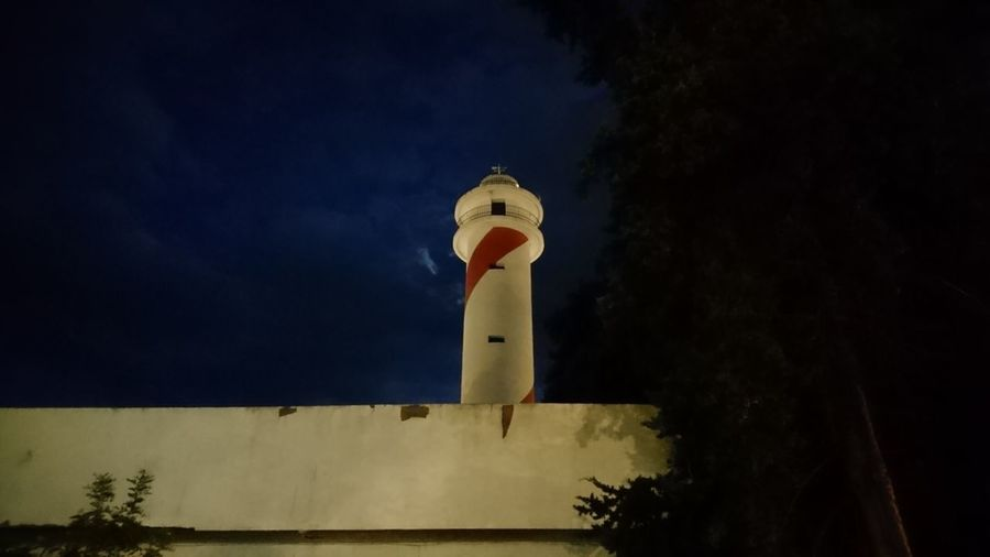 Marbella lighthouse. Marbella SPAIN España Andalucía Andalusia Lighthouse Lovers Lighthouses White Striped Darkness Night Above Darkblue Mystery Urban Beauty Star - Space Lighthouse Tree Astronomy Moon Illuminated Tower Sky Architecture