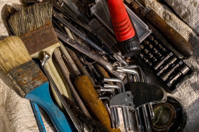 keys and tools Screw Driver Brush Close-up Day Hammer Indoors  Instrument Jute Sack Key Ring Materials No People Repair Screwdriver Tool Box Tool Kit Toolbox Tools Toolset Wrench  The Still Life Photographer - 2018 EyeEm Awards