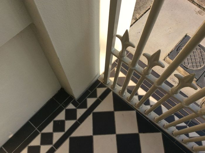 Home Victorian Floor Tiles iron gate Evening Sun shadow Black And White Tiles