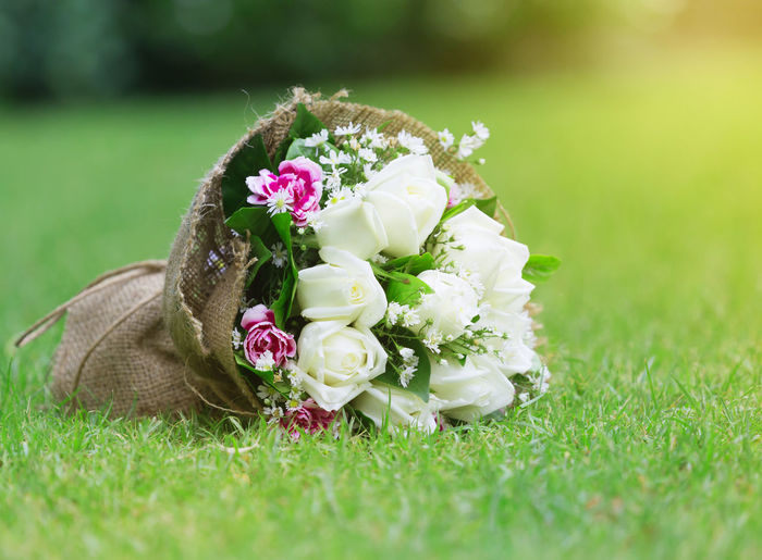 White rose on the floor Beauty In Nature Bouquet Celebration Close-up Day Flower Flower Arrangement Flower Head Flowering Plant Fragility Freshness Grass Green Color Nature No People Outdoors Plant Rosé Rose - Flower Selective Focus Vulnerability  Wedding