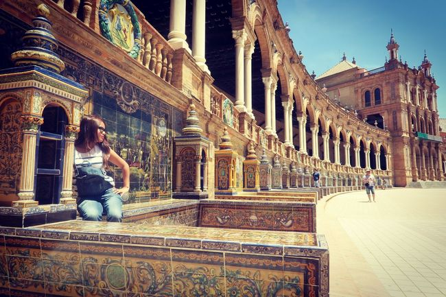 City Architecture Travel Destinations Women Travel Building Exterior Tourism Tourist Only Women Built Structure Adults Only People History Adult Vacations Outdoors Young Women One Woman Only One Person Young Adult Seville,spain