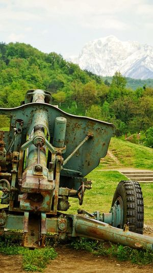 WW 2 Cannon Green color Transportation day mode of transport Field no people mountain abandoned outdoors Tree Nature sky Grass steam train tire cannon Nature Sky Abandoned Tree Day Field Outdoors Grass Transportation Mountain Tire Steam Train No People Mode Of Transport Green Color