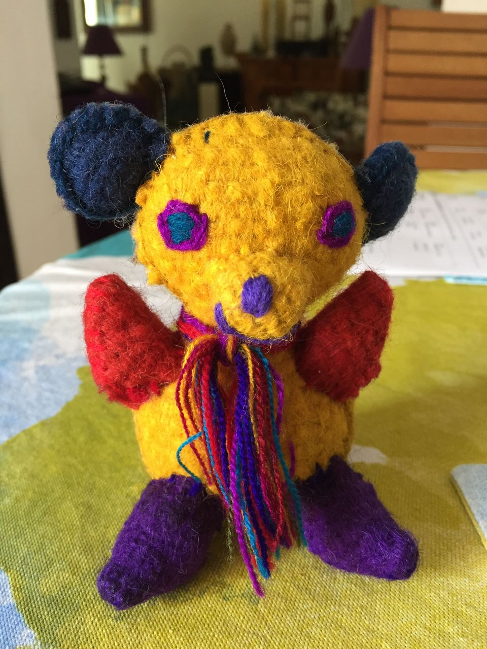 indoors, toy, stuffed toy, teddy bear, close-up, childhood, no people, wool, multi colored, day