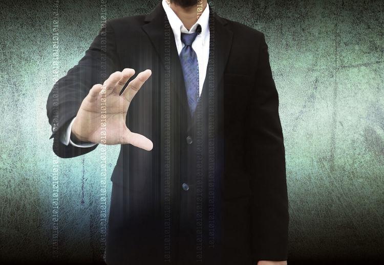 Digital composite image of businessman