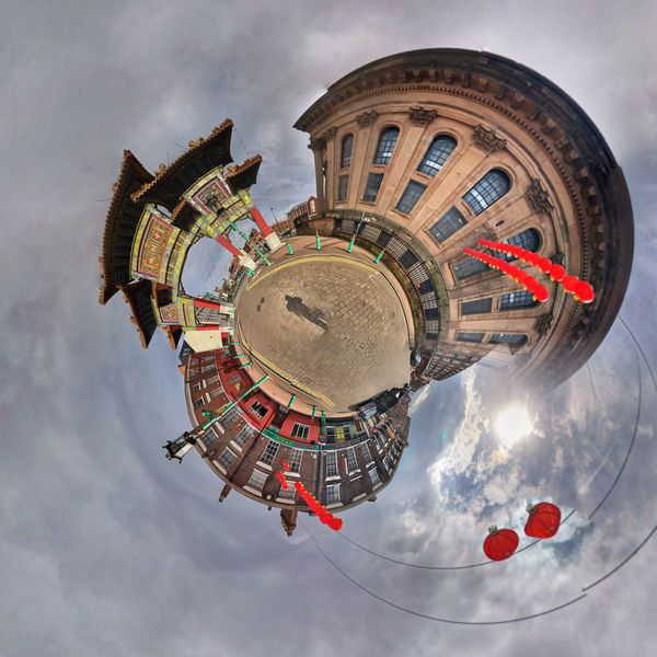Chinatown, Liverpool Chinese Gate Chinese Arch Chinese Arch Liverpool Chinese Tiny World Tiny Planet 360 Panorama Panoramic Panorama EyeEm Selects Sky Cloud - Sky Architecture Built Structure Nature Circle