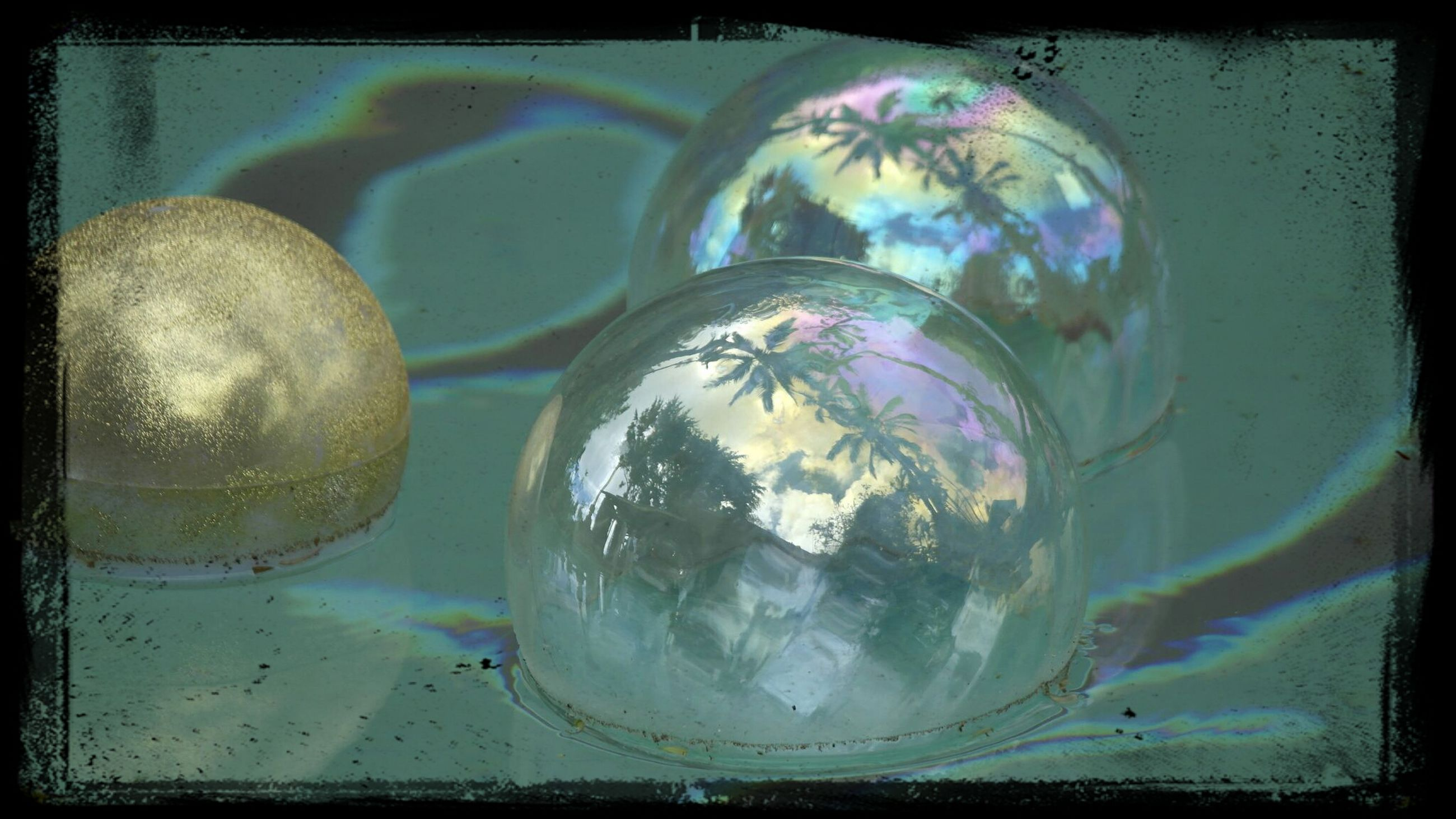 transfer print, auto post production filter, indoors, glass - material, transparent, water, reflection, close-up, glass, no people, blue, bubble, frame, day, high angle view, drinking glass, digital composite, circle, sphere