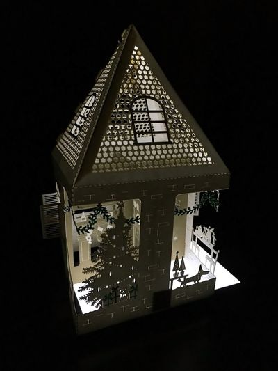 Lit Up 3D Holiday Paper House with a Christmas Tree Laser Cut Ornament Decoration Greeting Card White Light in the Dark Hangable Gift Art Party Hat Cut Roof Winter Christmas Present Christmas Stockings Home Paper Craft Xmas See Through Handmade Illuminated Design Origami 3-D Christmas Greeting Card Decoration Nightlight Daschund Weiner-Dog Desaturated White Light Glow In The Dark 3-D In The Dark Ornament Laser Cut christmas tree Lit Up Paper House Night Close-up First Eyeem Photo