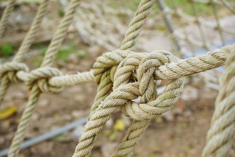 Full frame shot of tied up ropes