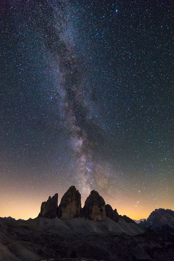 Milky way over Tre Cime di Lavaredo Astronomy Beauty In Nature Cliff Dolomites Dolomiti Extreme Terrain Idyllic Italy Landscape Low Angle View Majestic Milky Mountain Mountain Range Nature Night Outdoors Remote Scenics Sky Space Star Star Field Tranquility Way