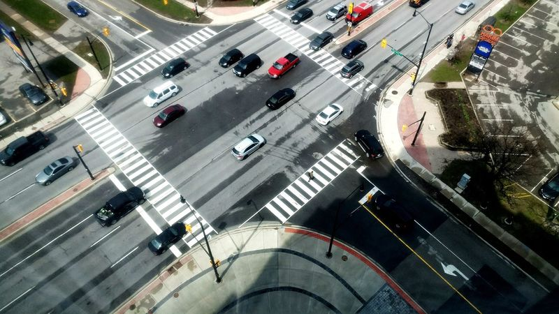 High Angle View Transportation Road Road Marking Aerial View Street Traffic City Car Land Vehicle City Street Outdoors Day No People
