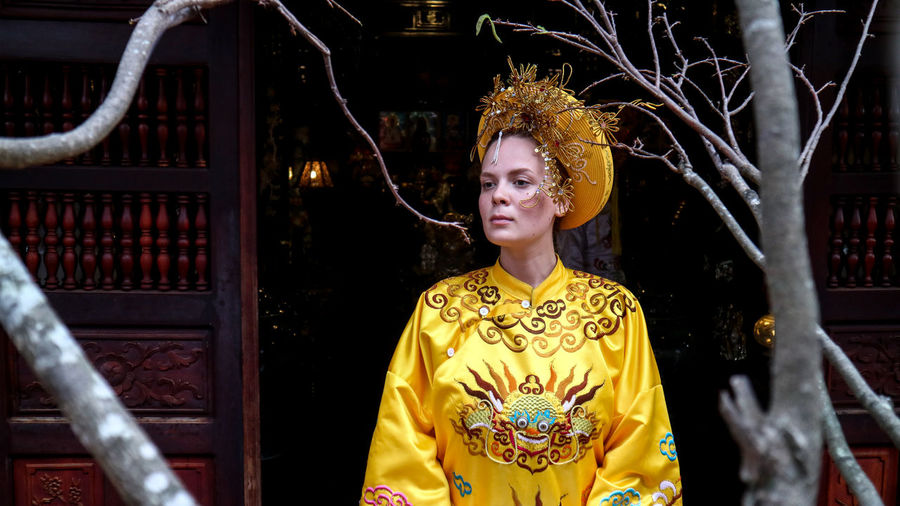 A tourist me trying royal costume in Ha Tien, Vietnam. Real People Architecture Lifestyles One Person Women History Museum