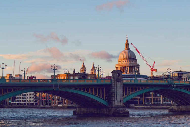 Bridge against st paul cathedral in city