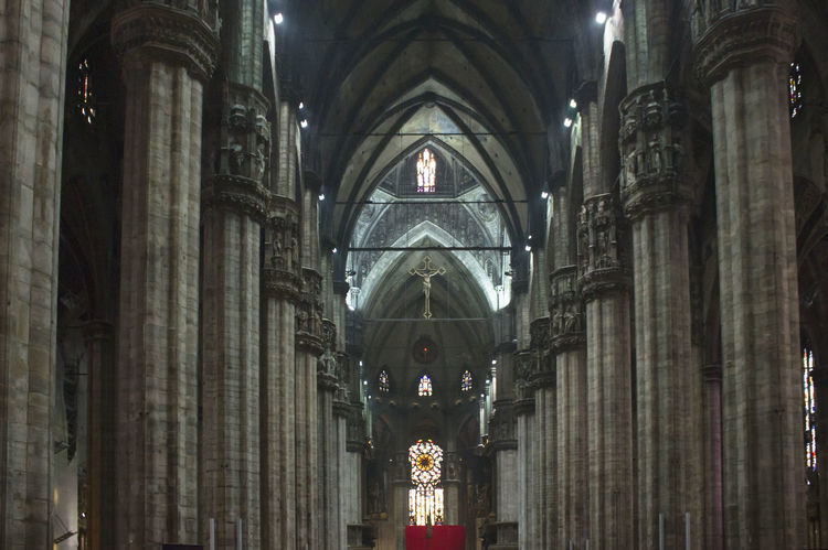 Duomo di Milano Interiors Cathedral Christianity Duomo Gothic Interiors Aisle Arch Architecture Crucifix Duomo Di Milano Indoors  Liturgical No People Place Of Worship Religious