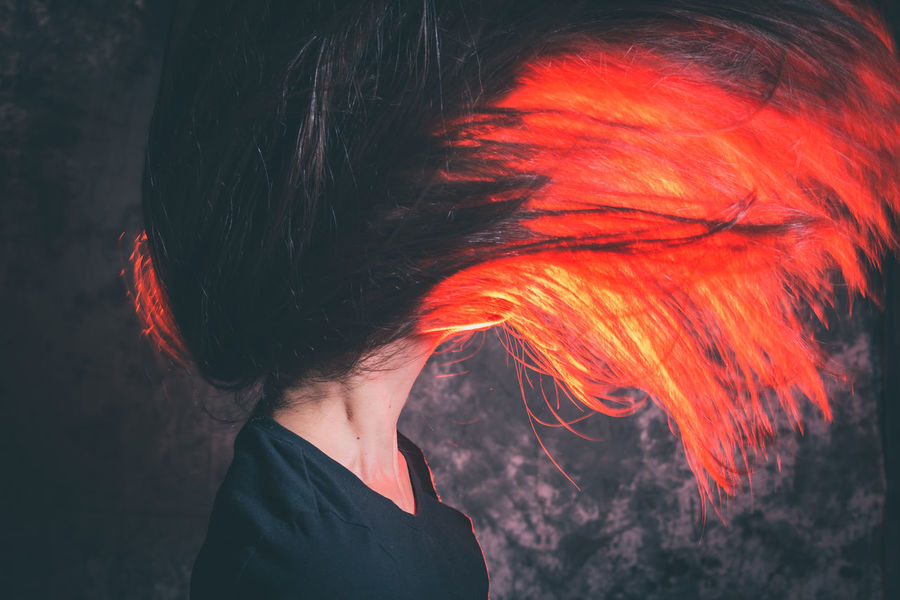 Fling Hair Lady Red Woman Art Flick  Girl Headshot Human Hair Leisure Activity Lifestyles Long Hair Motion On Fire One Person Real People Red Standing Women Young Adult