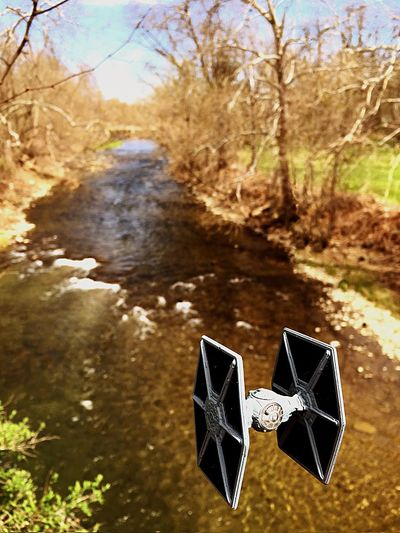 Shooting the Rapids. Star Wars Starwars Action Figures Toycommunity Outdoor Photography Toyphotography Toy Photography Tiefighter Diecast