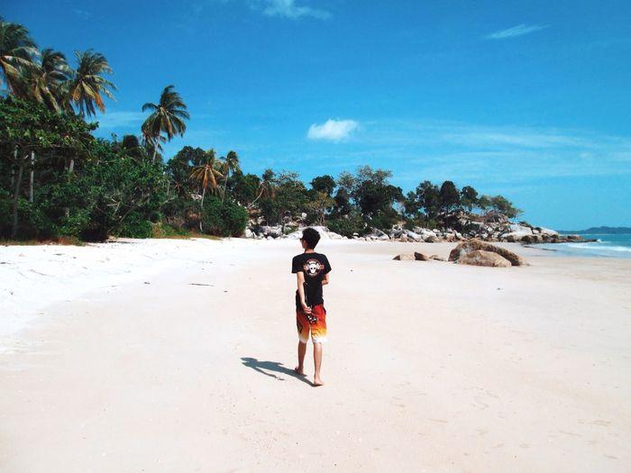 Rear view full length of boy walking at sandy beach against sky