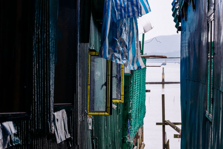 Clothes drying on clothesline by building