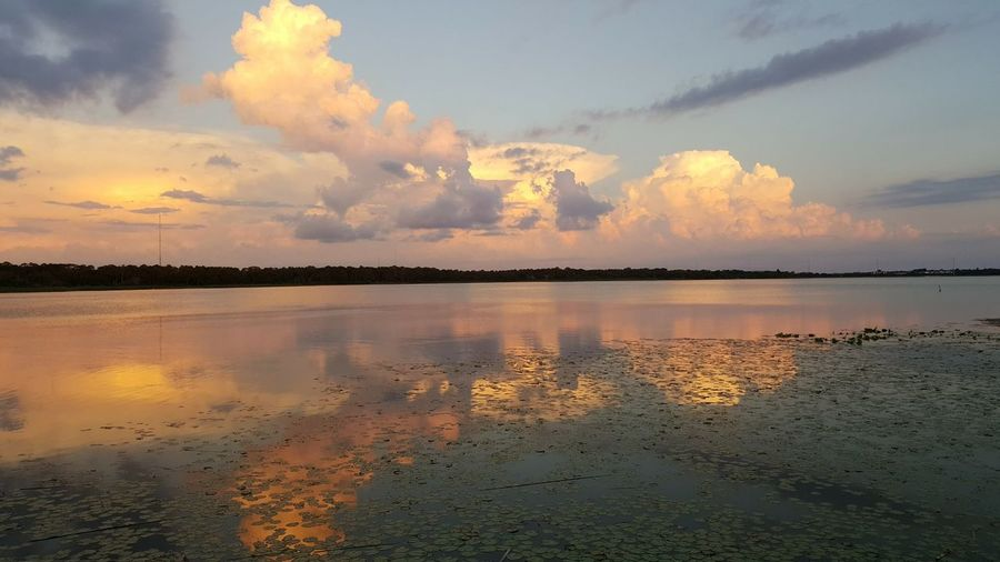 Lake Seminole, Florida Sunset Peace Cloudy Sunset Brilliant Colors Mirror Picture Mirror Sunglasses Breathtaking View Tropical Paradise Peaceful Evening Sunset #sun #clouds #skylovers #sky #nature #beautifulinnature #naturalbeauty #photography #landscape Calm Water Tropical Life Gentle Waters Best Life Night Sky
