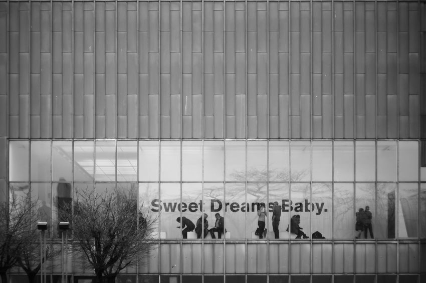 Sweet Dreams Baby. Architecture Art B/w Blackandwhite Carl Zeiss Jena City Cologne Communication Communication Design Fassade Germany Glass Kunst Ludwig Goes Pop Monochrome Museum Museum Ludwig Köln Pancolar F1.8/50mm People Pop-art S/w Text Www.davidundpaul.com
