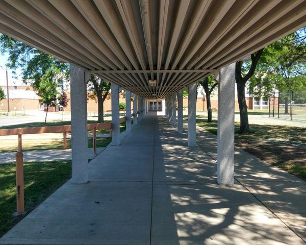 School Corridor View Corridor Walkway Shaded Shady Shadows