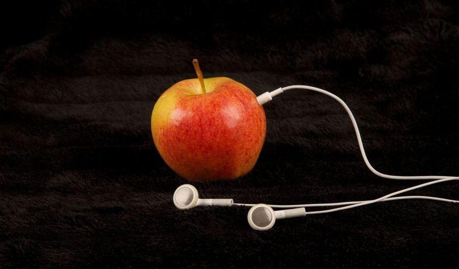 Apple Apple Apple - Fruit Art Art Piece Close-up Creative Food Freshness Fruit Headphones Music No People Organic Photography Red Ripe Still Life