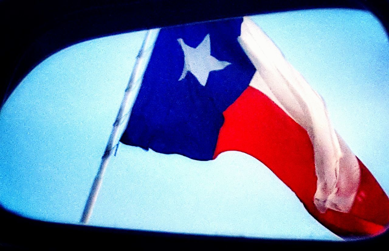 flag, patriotism, blue, no people, red, close-up, day, outdoors, clear sky, sky