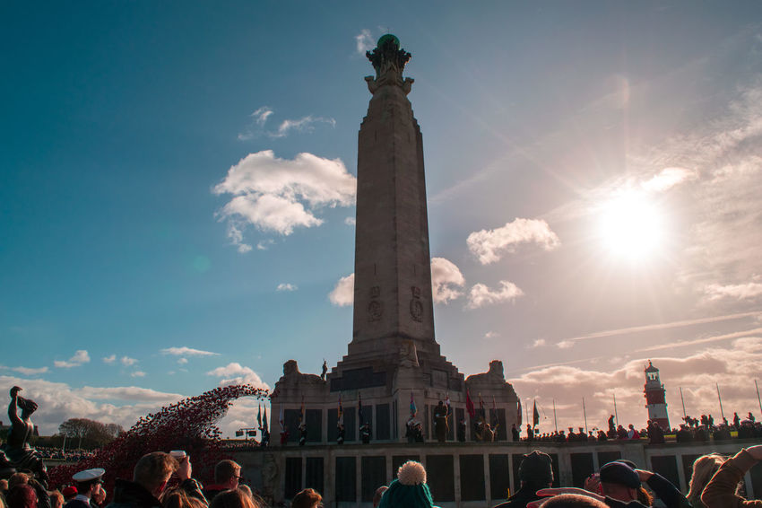 A parade on remembrance Sunday around a memorial. On the Plymouth Hoe, UK Lighthouse Memorial Poppy Wave Sunny Navy Plymouth Hoe Poppy Rememberance Poppy Rememberancesunday Remembrance Ww1
