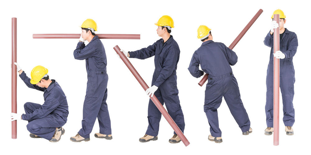 Group of people working on white background