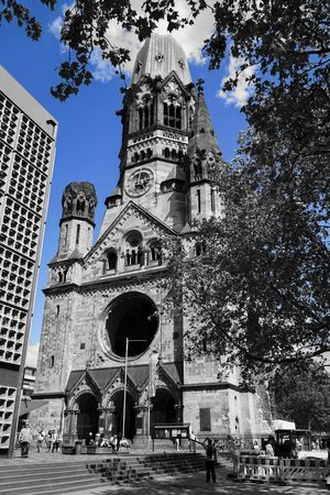 Berlin Berlin Tourismus Blackandwhite Blauer Himmel Blue Sky Cathedral Church Colorkey Gedächtniskirche Germany K Ku-Damm Kurfürstendamm Place Of Worship Religion Sightseeing Berlin Tauentzienstrasse Tourism