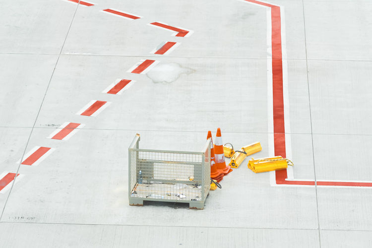 High angle view of traffic cone on airport