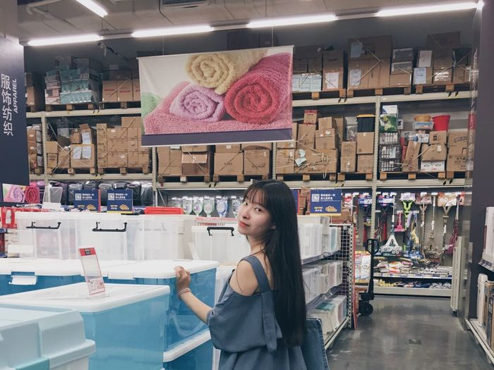 不用上課的一個下午. 🌀 Store Supermarket Adult Smiling Portrait Real People Lifestyles School Life  Records With Friend Taking Photos Wonderful Day That's Me! Looking At Camera Total Look Girl Long Hair Black Hair Blue Clothes