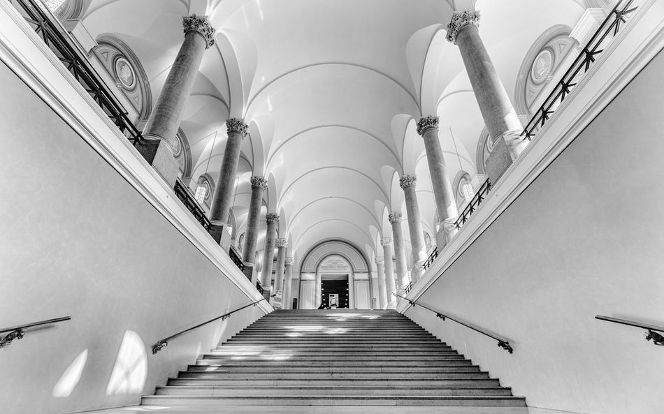 Steps up Architecture Black And White Built Structure Day Indoors  Library Low Angle View Railing Staircase Steps Steps And Staircases The Way Forward