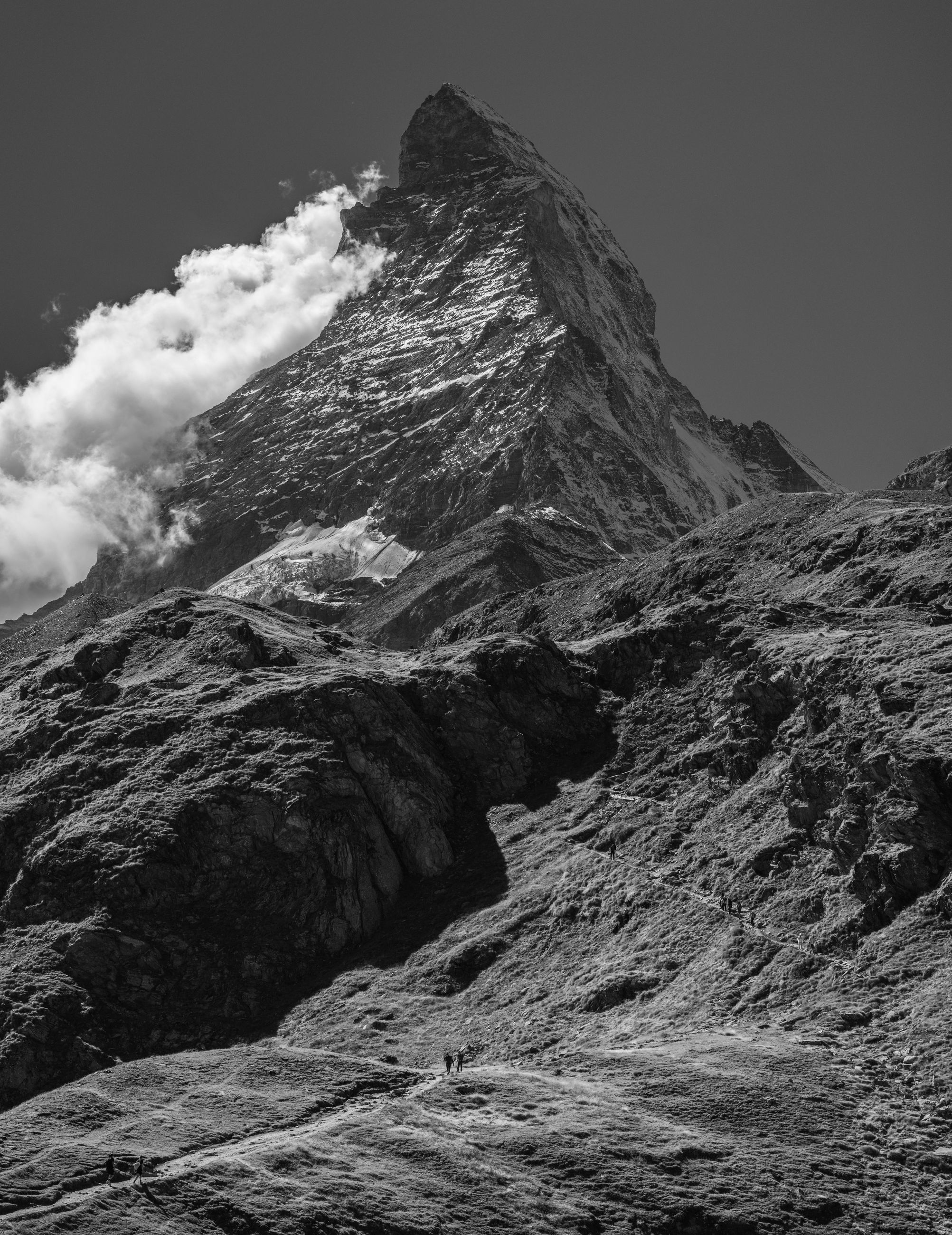 mountain, black and white, environment, beauty in nature, scenics - nature, sky, monochrome, landscape, monochrome photography, snow, nature, mountain range, cloud, no people, rock, geology, land, non-urban scene, mountain peak, cold temperature, travel destinations, travel, outdoors, day, physical geography, volcano, ridge, snowcapped mountain, tranquility, winter, tranquil scene