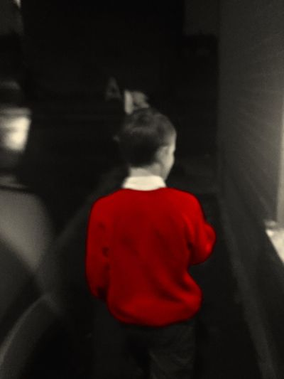 Boy Street Red Jumper Dark Evening Back Shot  Coloursplash