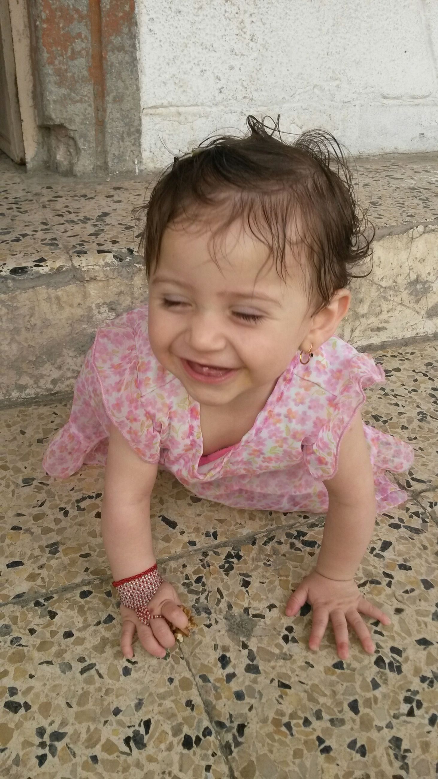 childhood, elementary age, person, innocence, cute, girls, lifestyles, casual clothing, leisure activity, portrait, looking at camera, full length, boys, front view, smiling, happiness, pink color, toddler