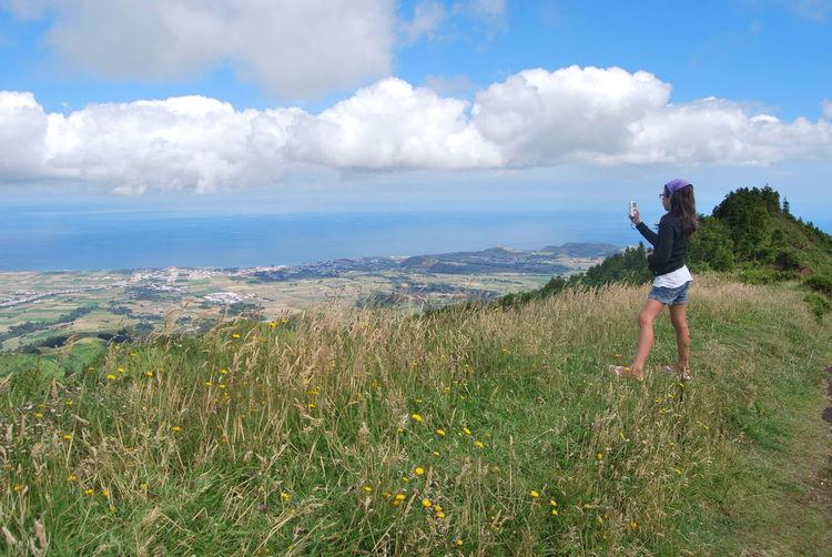 Lanscape Girl Taking Photos Taking Pictures Scenery Azores Enjoying The View Enjoying Nature