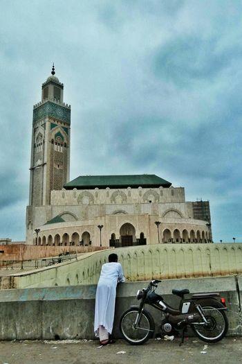 Casablanca People Watching Arabic Morroco Mosque Motorbike