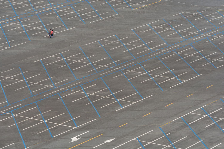 High angle view of man playing soccer on field