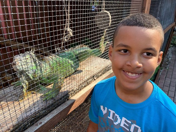Portrait of smiling boy by reptile in cage