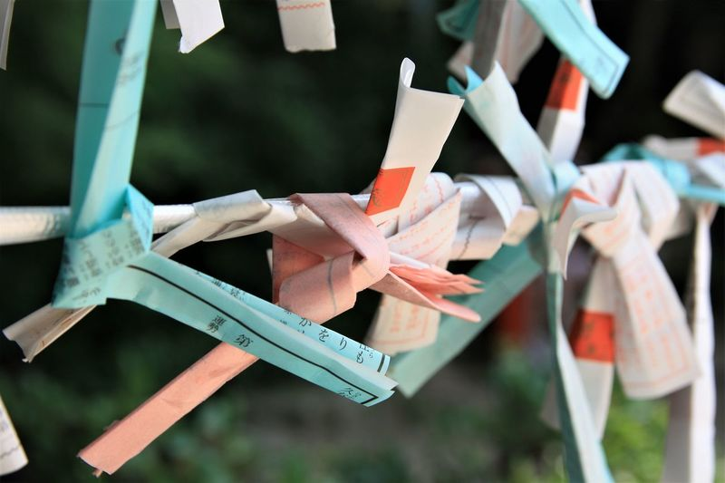 Asian Culture EyeEmNewHere Letters Close-up Clothesline Clothespin Day Dazaifutenmangu Focus On Foreground Hanging Hopes And Dreams Large Group Of Objects No People Outdoors Paper Papercraft Variation