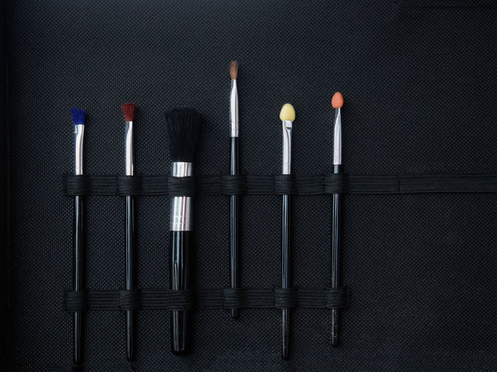 Close-up of objects against black background