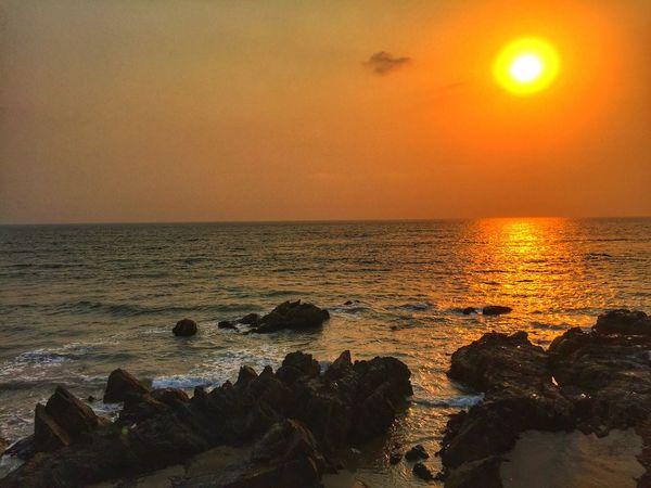 Goa Sunset 🌅 Sunset Sea Beauty In Nature No People Beach Wave Nature