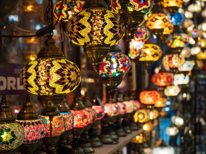 Colourful Istanbul Light Turkish Lamps Abundance Arrangement Business Choice Collection Decoration Electric Lamp For Sale Grand Bazaar Hanging Illuminated Lamps Lantern Large Group Of Objects Light Light And Shadow Lighting Equipment Local Market Market Retail  Variation