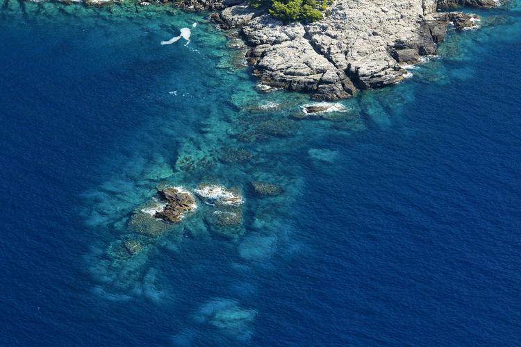 Aerial view of rocky coastline in mljet island, croatia