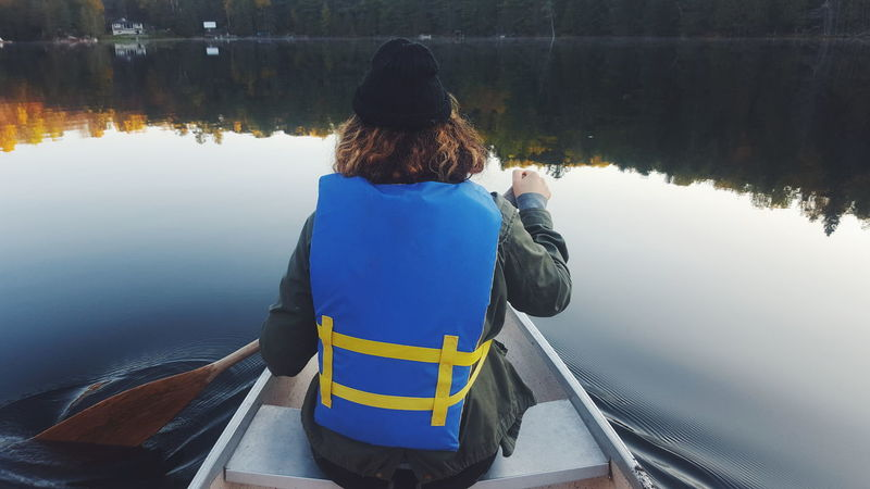 Reflection Water One Person Only Women Rear View One Woman Only Leisure Activity Outdoors Lake Nature Quebec Canoe First Eyeem Photo EyeEmNewHere
