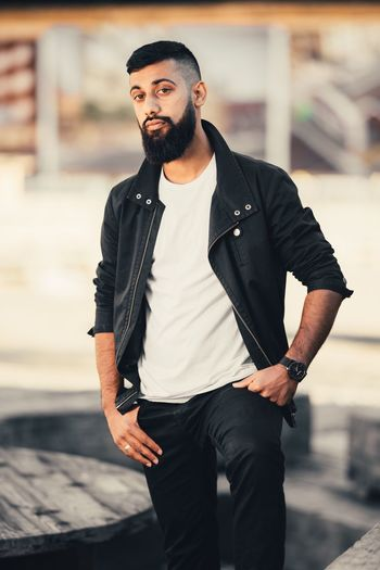 Beard Young Adult Casual Clothing Handsome Young Men Lifestyles Beautiful People Confidence  Cool Attitude Hipster - Person Portrait City Life Blogger Style Standing