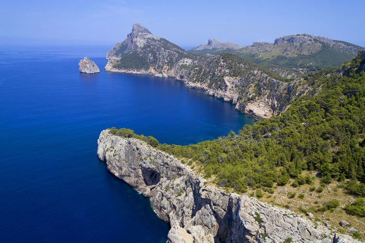 High angle view of mountain and sea at majorca island
