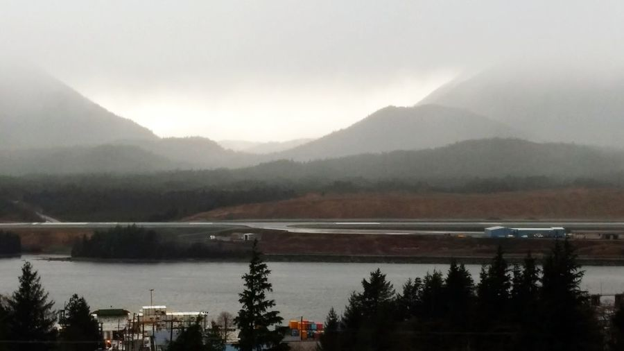 Raining Gray Sky Mountains Southeast Alaska
