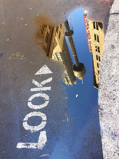 The Architect - 2019 EyeEm Awards Reflection Water Deep Puddle Puddleography Downtown Down Under Westfield Tower High Angle View Day Communication Sunlight Nature Western Script Road City Outdoors Street Transportation Sign My Best Photo