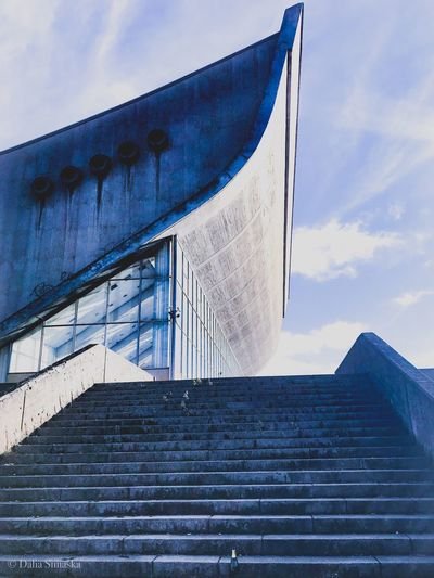 Sky Architecture Built Structure Low Angle View Cloud - Sky Building Exterior Nature No People Day Blue Outdoors Staircase Sunlight Steps And Staircases Building Old Roof